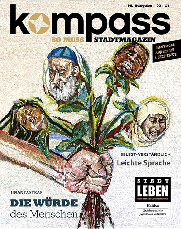 "Linda Friedman Schmidt's activist artwork ""WEEDING"" is featured on the cover of the March 2017 KOMPASS Magazine from Germany."